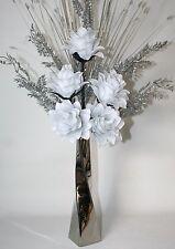Artificial Flowers White Silk Dragon Flower Arrangement in Silver Vase 75cm Tall