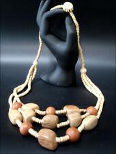 Joya Collar Cadena de Madera Marrón 3-lagig 60cm #63
