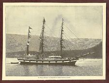 """The Brigg """"Windward"""" in moments of arrival Nansen's Tromsö Wood Engraving 1896"""