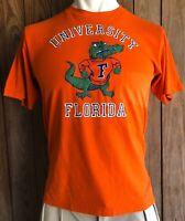 Florida Gators Men's Large Tshirt Vintage 80's Orange Short Sleeve 50/50 Swamp