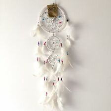 NEW WHITE CREAM WITH COLOURED BEADS DREAM CATCHER NATIVE AMERICAN MOBILE 74148