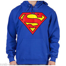 OFFICIAL *SUPERMAN* HOODIE OFFICIAL SWEATSHIRT JUMPER LOGO PLAIN BLUE HOODY TOP