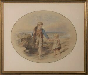 Framed Mid 19th Century Watercolour - Children on the Beach