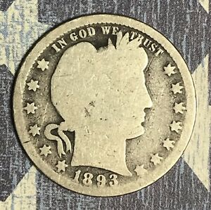 1893 BARBER SILVER QUARTER. COLLECTOR COIN FOR YOUR SET OR COLLECTION