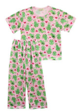 Girls Baby/Toddler Froggie & Hearts Printed Pajama Set Sleepwear, XXS (1-2 y/o)