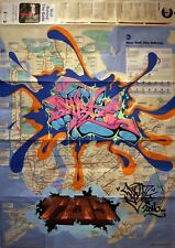 PART-ONE -Graffiti sur plan de métro NYC- subway map -cope2/seen/rd357/taki/tkid