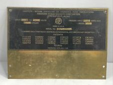 Vintage American Bosch Magneto Brass Model 29 Serial Number Id Name Tag Plate