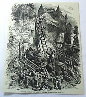 1886 magazine engraving~ JOAN OF ARC, Leading Assault on Tourelles at Orleans