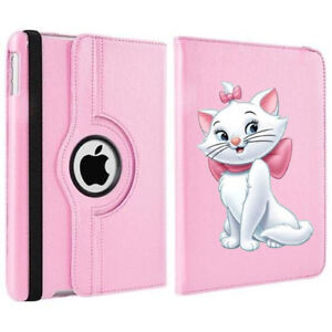 Cute Marie Aristocats Disney Rotating Case Cover Stand For Apple iPad