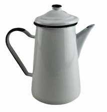 More details for enamel coffee pot and lid - white and blue - 1 litre