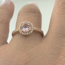 Women/'s White Gold Double-Band Morganite Ring Size 7 Lavari