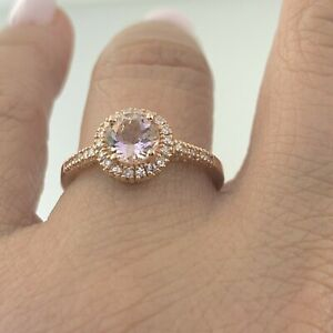 Ema Morganite Halo Ring with Natural Diamond in 14K Solid Rose Gold Sz 8