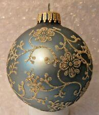 """VINTAGE GLASS CHRISTMAS ORNAMENT KREBS TEAL W/ GOLD GLITTER SWIRLS 3"""""""