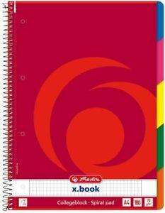 Herlitz - Quaderno con spirale, a quadretti, con 5 divisori colorati,...