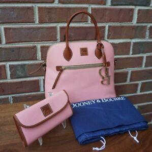 Dooney & Bourke Large Domed Pale Pink Pebbled Leather Satchel & Wallet-NWT