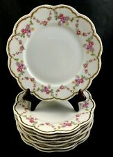 "🟢 Set of 8 Frank Haviland Limoges Paris Pink & Yellow Swag 9 5/8"" Dinner Plate"