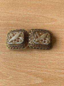 Antique Pierced Gold Metal Belt Buckle With Carved Bird Design
