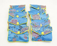 10PCS Cute Gift  Jewelry Bags Pouches 70mm*80mm Blue Man-Made Silk  SNAP BUTTON