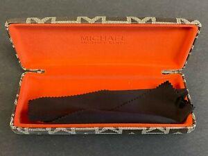 BRAND NEW MICHAEL KORS MONOGRAM EYEGLASSES HARD CASE W/POLISHING CLOTH M