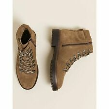Hiker Ankle Boots UK 7 ex M&S NEW RRP£59 Leather Suede Brown NEW Lace Up detail