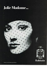 PUBLICITE ADVERTISING 094  1973  BALMAIN  parfum  JOLIE MADAME