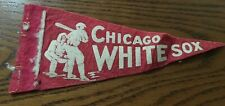 "1940's Vintage Chicago White Sox Baseball 3.5"" x 9"" Mini Pennant Flag Red"