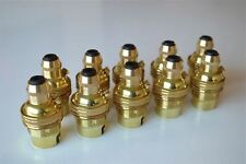 More details for 10 brass bayonet fitting bulb holder cord grip lamp holder earthed shade ring g3