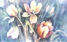 """BUNCH OF TULIPS, Original Water Color Painting Artist Signed Framed 22""""x 29"""""""