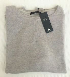 Ladies M&S Size 22 Silver Grey Lambswool Rich Crew Neck Jumper Free Postage