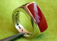 David Yurman Men's Sterling Silver RED AGATE Chevron Ring Size 8.75