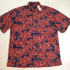 Reyn Spooner Mens Size Large Short Sleeves Hibiscus Hawaiian Shirt In Pink NWT