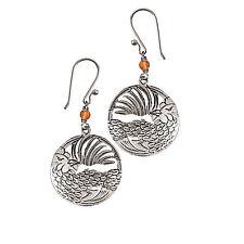 Rooster Dangle Earrings Sterling Silver & White Metal Carnelian Bead Gift Boxed