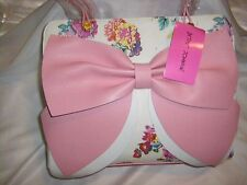 NWT Betsey Johnson White Floral Large Bow Satchel SOLD OUT EVERYWHERE !!