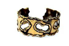 Vintage Modernist ARTHUR KING Sterling Silver Gold Wash BRUTALIST Cuff Bracelet