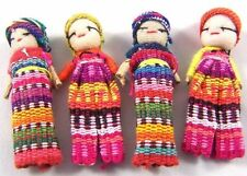 Set Of Four Guatemalan Worry Dolls Fair Trade With Carry Pouch Made By Mayans