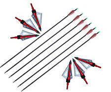 GPP 6PK Carbon Arrows 30-Inch Arrows with 3 Blade 100 Grain Broadheads and point