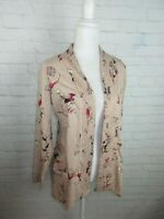 LOGO Women's Size M Blush Pink Floral Open Cardigan Top Pockets