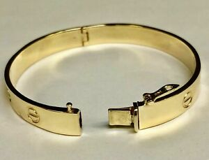 14k solid yellow gold nail head love design bangle bracelets8mm23 grams7.5 inch