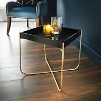 Stylish Melrose Tray Table Removeable Black Tray With Gold Finish Legs