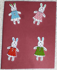 Girl Bunny RABBIT Sewing Buttons Wood Bunnies in Dresses Button Lot Set of 4