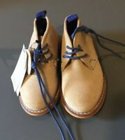 Boys Shoes Boots M&S Tan Real Suede Leather Size Uk 4 Eur 20,5 Inf Rrp £30 (P20)