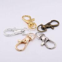 10PCS Lobster Trigger Swivel Clasps Split Keyring Hook Key Fob Ring