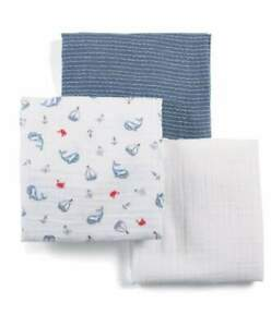 Mamas and Papas Sail Away With Me Pack of 3 x Large Muslin Squares - Burp Cloth