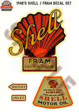 Shell Fram Oil Filter Decal Water Slide hot rod Rat Flathead Ford V8 Deuce 1932