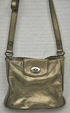 FOSSIL Marlow Metallic GOLD Pebbled Leather CROSSBODY Purse ZB5560 Champagne