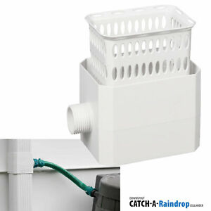 Downspout Rain Water Collection Diverter Connector System Colander 2x3 in White