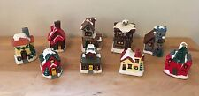 Vintage Christmas Candle Village - Set of 9 - Grist Mill, Bakery, Hardware Store