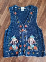 White Stag Fall Sweater Vest Halloween Beaded Zip Up Scarecrow Pumpkin XL