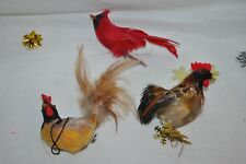 3 CHRISTMAS ORNAMENT birds 1 red CARDINAL 2 roosters FEATHERS FLOCK vintage nice