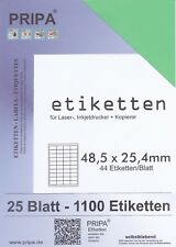 1100 Etiketten 48x25 mm = 25 Blatt grün selbstklebend PRIPA Aufkleber aus Papier